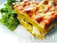 Картофи огретен на фурна със сирене, настърган кашкавал, прясно мляко и яйца